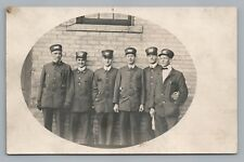 Train Ticket Takers RPPC Antique Railroad Occupation Photo Uniforms—Ghost Image