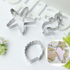 3pcs Seahorse Seashell  Mold Biscuit Cookie Cutter Set Birthday Party