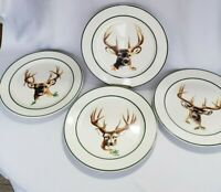 "Cabelas Set of 4 Dinner Plates  Boys Of Autumn by Phillip Crowe 11"" buck deer"