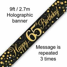 9ft Banner Happy 65th Birthday Black & Gold Holographic