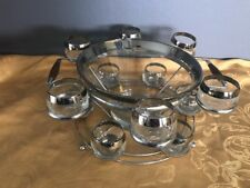 Dorothy Thorpe Style Silver Punch Bowl Barware Set Roly Poly 12 Cups & Rack