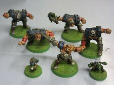 Blood Bowl Ogre Team 5 Ogres including Morg n Thorg and a couple of gobbos metal
