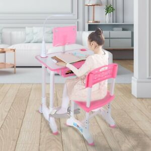 kids Height Adjustable Study Desk And Chair Set With Desktop And Drawer