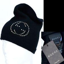 GUCCI New sz L Authentic 100% Cashmere Womens Designer GG Ski Beanie Hat black