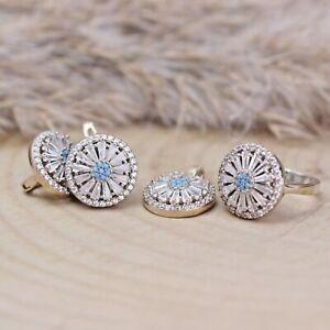 Turkish Handmade Aquamarine Silver 925 Set Ring Earring Pendant Ring 6-12