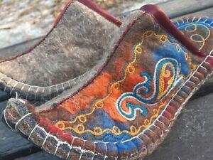 Felt felted slippers womens mens handmade Kazakhstan Mongol wool size 38-39 eur