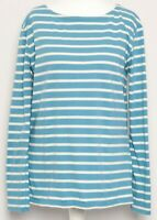 SEASALT Blue White Nautical Striped Organic Cotton Long Sleeve Sailor Top Sz 12