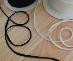 Soft round elastic cord 2 mm or 3.2 mm black or white sewing & crafts
