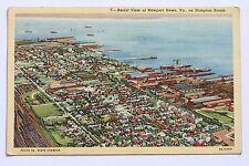 Linen postcard AERIAL VIEW OF NEWPORT NEWS, VA, ON HAMPTON ROADS