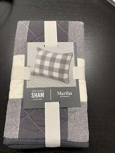 Martha Stewart Box Plaid Charcoal/Ivory Standard Cotton Pillow Sham