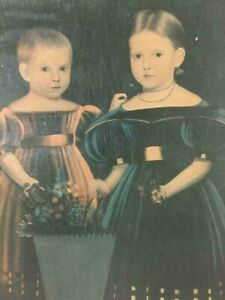 EARLY AMERICAN FOLK ART PAINTING portrait of two girls from He Roy Ford
