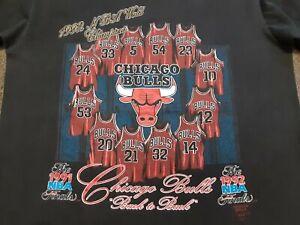 VTG 90s 1992 NBA Chicago Bulls Back to Back World Champions Champs T Shirt Large