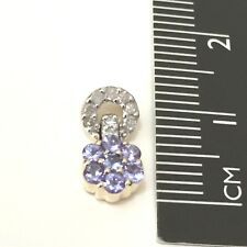 Lovely Real 9K Solid Yellow Gold Genuine Earth MineTanzanite & Diamond Pendant