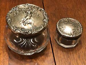 2 Antique Sterling Silver Topped Crystal Vanity Dresser Jars Not Scrap 1909