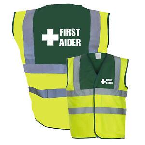 First Aider Hi Vis Two Tone Paramedic Green / Yellow Hi Viz Safety Vest / Wai...