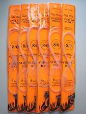 6 pack - 8/0 Tide Rite Bronze Snelled Hooks - Striped Bass - Mustad - 6 per pack