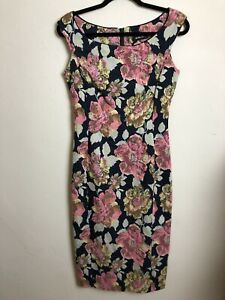 MOSS & SPY Size 10 New Without Tags Navy Pink Floral Brocade Pencil Dress