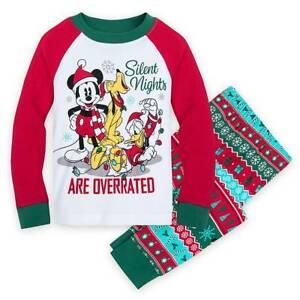 New Disney Store Mickey Mouse Pluto Pajama Set Holiday Boys Christmas Boys PAL