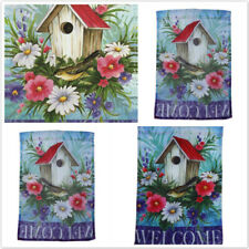 Floral Digital Printed Welcome Spring Garden Flag Yard Banner Bunting Decor Z