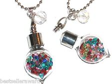 1 Glass Heart Filled Crystals screw top floating Bottle Necklace pendant locket