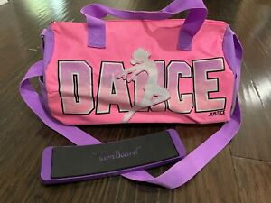 Justice Girls Duffle Bag Dance Pink Purple Glitter Turning Board Spin Travel Gym
