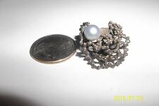 6 * RETRO MODernist STERLING SILVER 925 RING MID CENTURY ABSTRACT ORGANIC pearl