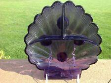 DEEP PURPLE CAMBRIDGE NAUTILUS 3 PART RELISH DISH Gorgeous Violet Color