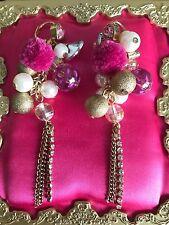 Betsey Johnson Vintage Varsity Crush Pom Pink Leopard Cluster Pearl Earrings