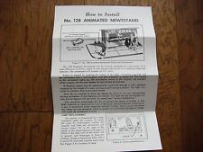 Lionel 128 Animated Newsstand Instruction Sheet