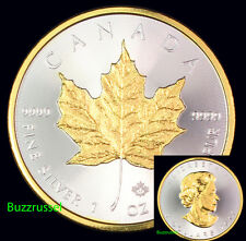 2017 Canadian Silver Maple Leaf Coin .999 Fine 24K Gold Gilded, BU 1 Ounce  FS