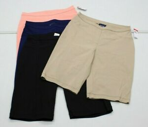 NEW~ Basic Editions Womans Small PULL-ON STRETCH Mill BERMUDA Shorts ~4 Colors