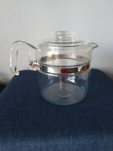 Vintage Retro Pyrex Glass Coffee Percolator 6 Cup 7756 USA Made Pot Lid
