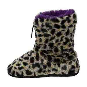 Dearfoams Women's Pile Boot Slipper with Zipper,Grey Leopard,US Small