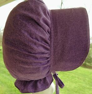 LADIES OLD FASHION PRAIRIE SUN BONNET ~HANDMADE~violet swirl NEW