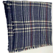 Blue Red Cream Plaid Acrylic Stadium Throw Blanket Fringe 39X84 Rectangle Soft