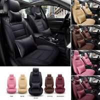 Universal 5 Sits PU Leather Deluxe Car Seat Cover Front&Rear Seat Cushion+Pillow