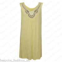 Ladies Women's Sleeveless Stud Embellish Baggy Flare Dress Top Plus Size 14-28