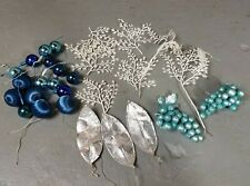 Lot of Vintage Plastic Christmas Greenery Sprays Picks Balls silver blue grapes