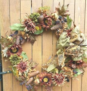 """27"""" Large Fall Wreath In the Darker Colors of Brown Orange Green and Rust"""