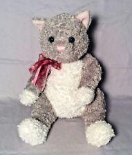 "GUND Plush Gray & White Kitty Cat CAT'S MEOW # 1487 Blue Eyes Pink Nose Ears 12"""