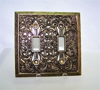 Mid Century Brass Finish Metal Double Light Switch Cover Plate 1960's
