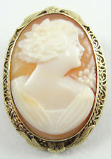 Cameo Pendant Pin Brooch Right Facing Antique 14K Yellow Gold Carnelian Shell