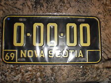 1969 NOVA SCOTIA SAMPLE LICENSE PLATE 00000
