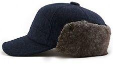 SIGGI Wool Winter Visor Baseball Cap Earflap Hat Faux Fur Ear Warmer For Men