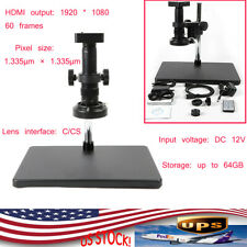 34 Mp Hdmi Industry Video Microscope Set System Usb Camera 180x C Mount Lens Led