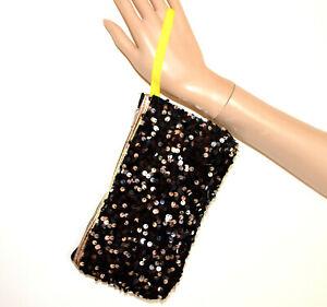 MINI SAC à main femme NOIR ARGENT pour le maquillage clutch bag black purse S70