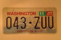 Washington 043-ZUU American USA License/Number Plate