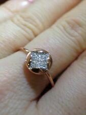 Fine French Hallmarked 18K Rose Gold Diamond Pave Ring Size 7
