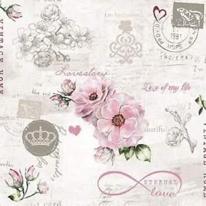 4 individual vintage pink floral decoupage napkins, scrapbooking, mixed media, c