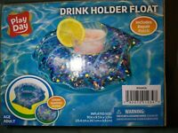 Play Day Swimming Pool Inflatable Cup Drink Holder Float Glitter Sparkles